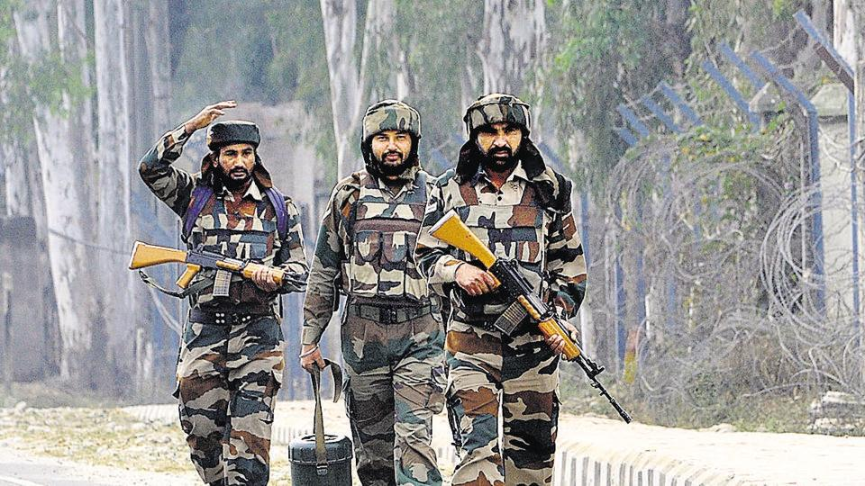 A hand grenade was hurled by suspected militants from a speeding car while a team of 2 JK Light Infantry was patrolling on foot.