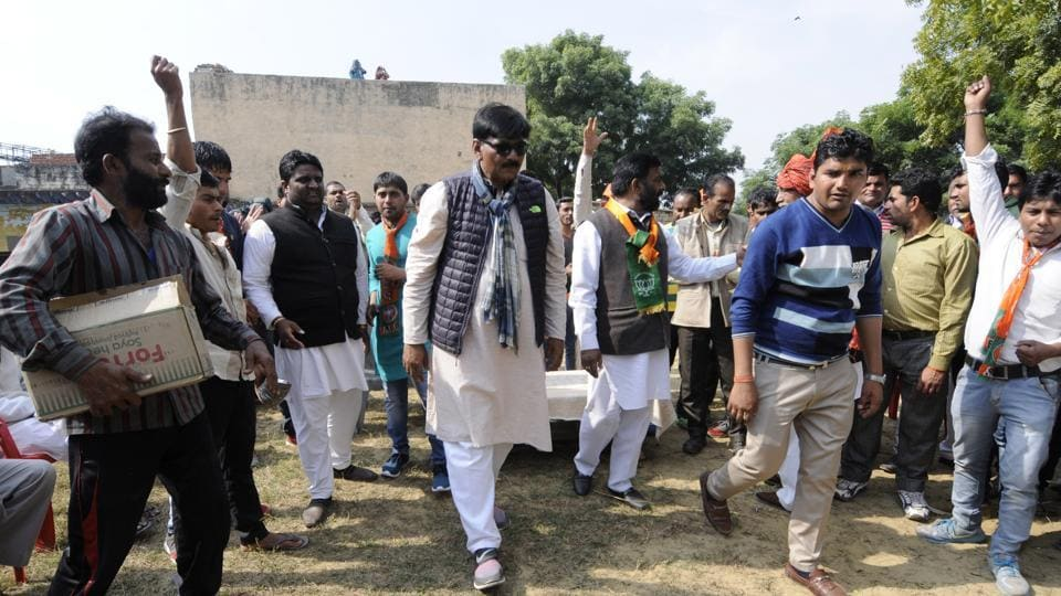 BJP candidate for Jewar assembly segment Thakur Dhirendra Singh, who came second on a Congress ticket in the 2012 polls, campaigned at Mirzapur village on Thursday.