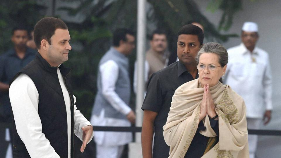 Congress president Sonia Gandhi and vice-president Rahul Gandhi at a function in New Delhi.
