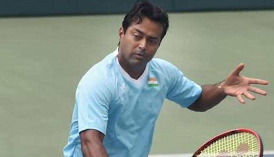 Leander Paes during a practice session ahead of the India's Davis Cup match against New Zealand.