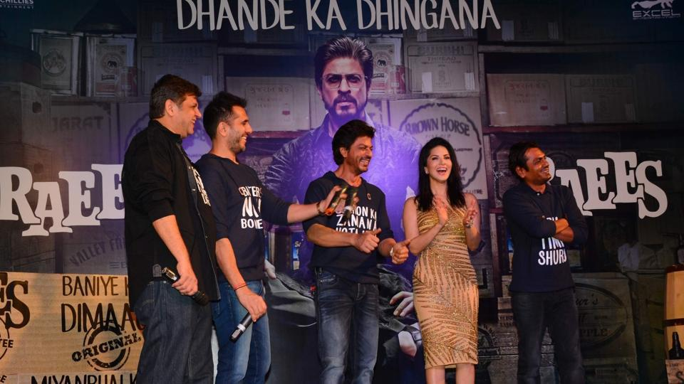 The team of Raees looks happy about the film crossing the Rs 100 crore mark. (IANS)
