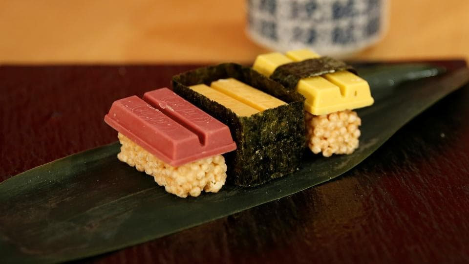 Nestle unveiled sushi-shaped versions of its KitKat chocolate biscuit bar in Tokyo on Thursday. (REUTERS)