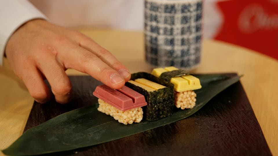 The three-piece sets are modelled on tuna, sea urchin and omelette sushis, but are actually raspberry, mascarpone cheese, and pumpkin pudding KitKats atop sugar-coated puffed rice. (REUTERS)