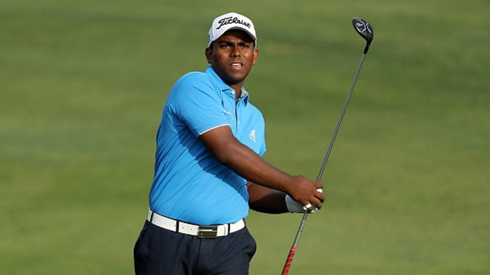 Rayhan Thomas plays his second shot on the par 5, 10th hole during the first round of the 2017 Omega Dubai Desert Classic.