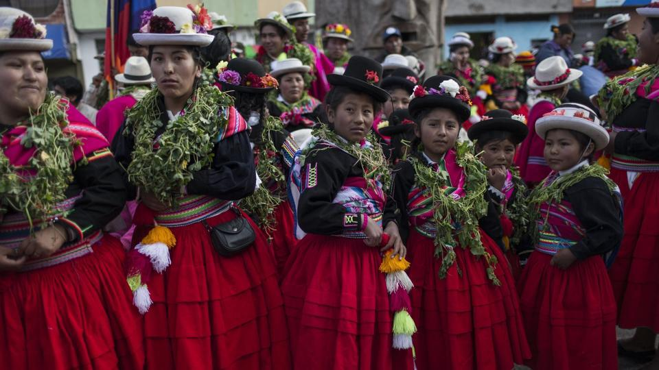 Dancers waiting for their turn to perform during Virgin of Candelaria celebrations in Puno, Peru. Anthropologist Henry Flores, who has studied indigenous dances in the town of Puno, said