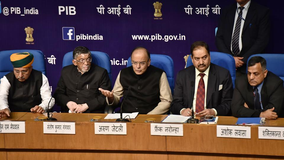 Finance minister Arun Jaitley addresses a post-budget press conference, in New Delhi.