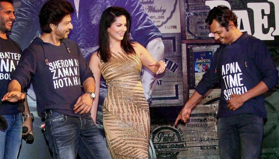 Shah Rukh Khan, Sunny Leone and Nawazuddin had a good time at the success party of Raees. (PTI)