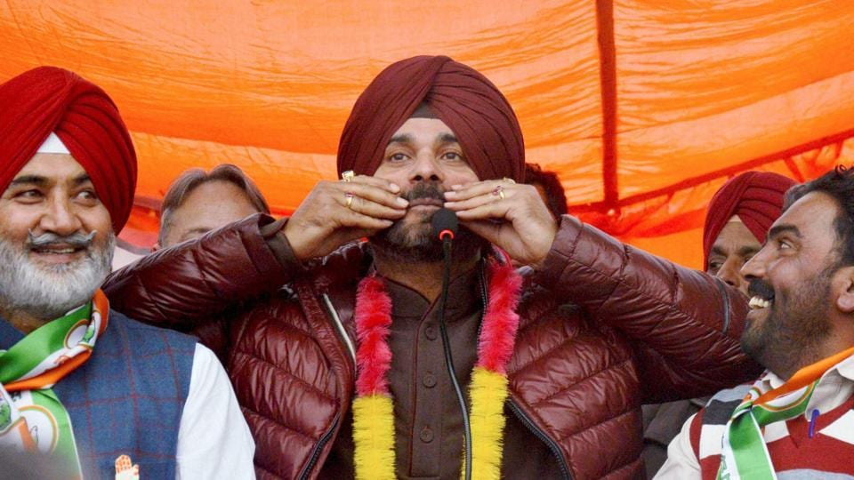 Congress party candidate Navjot Singh Sidhu at an election campaign rally for Punjab Assembly elections at Verka, about 25 km from Amritsar. (PTI)