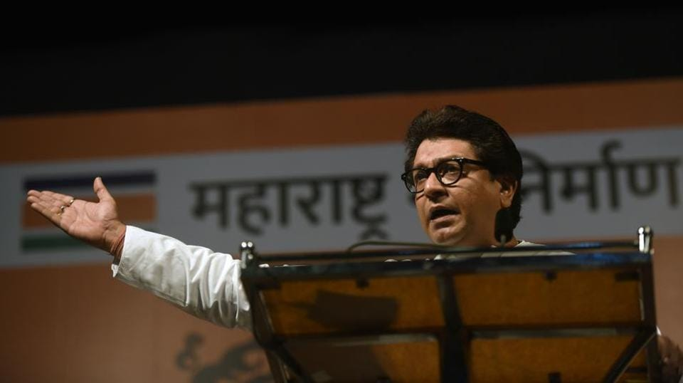 MNS chief Raj Thackrey addressing party workers in Dadar on Wednesday.
