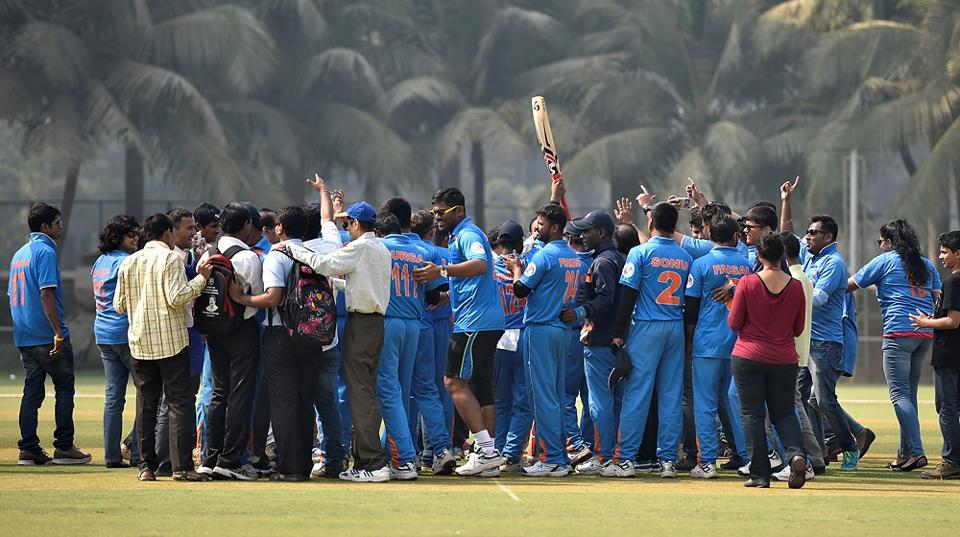 Indian players celebrates their victory against South Africa. (Arijit Sen/HT PHOTO)