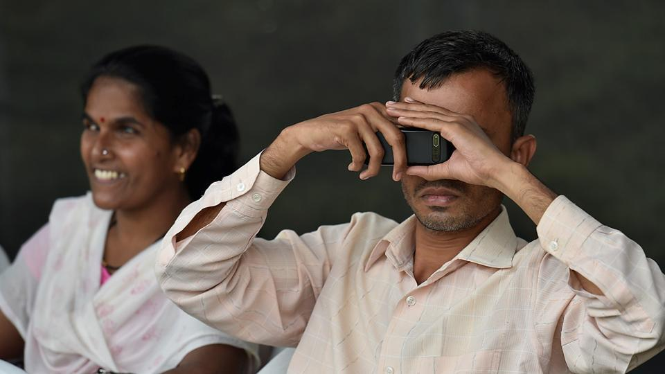 A partially-blind spectator during the T20  match. (Arijit Sen/HT PHOTO)