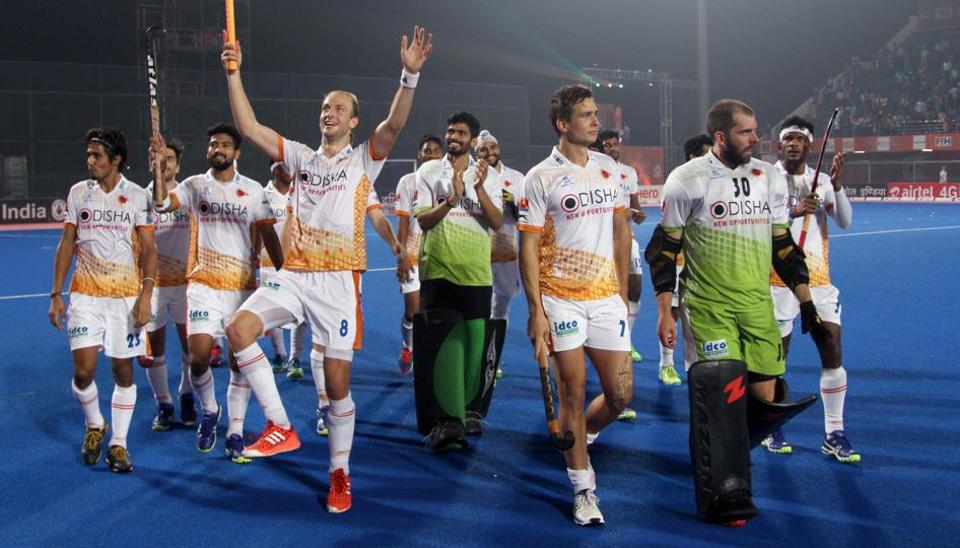 Kalinga Lancers players celebrate after their win over Punjab Warriors in Hockey India League.