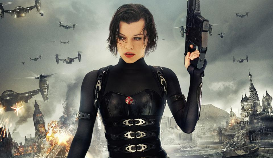 Donning her trademark black latex and packing a six-shooter, leading lady Milla Jovovich performs her gravity-defying stunts with a modicum of panache.