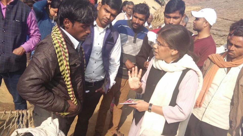 Former AUSU president Richa Singh campaigning with her team in Allahabad West constituency.