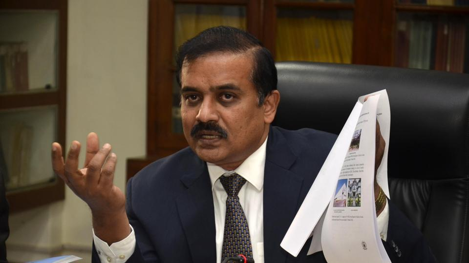 C. Nedunchezhian -Accountant General of Jharkhand addressing press in Ranchi on Thursday
