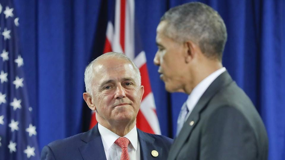 In this November 20, 2016, file photo, Australia's Prime Minister Malcolm Turnbull talks with former US President Barack Obama following their meeting at the Asia-Pacific Economic Cooperation (APEC), in Lima, Peru.