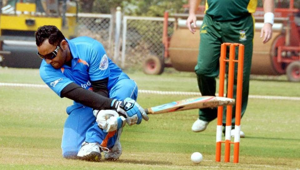 India's Zafar Iqbal plays a shot against South Africa during the 2nd T20 World Cup Cricket Tournament in Mumbai on Friday.