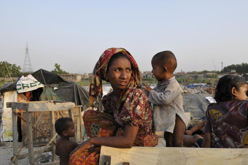 Rohingyas from Myanmar at a refugee camp in Kalindi Kunj in New Delhi.