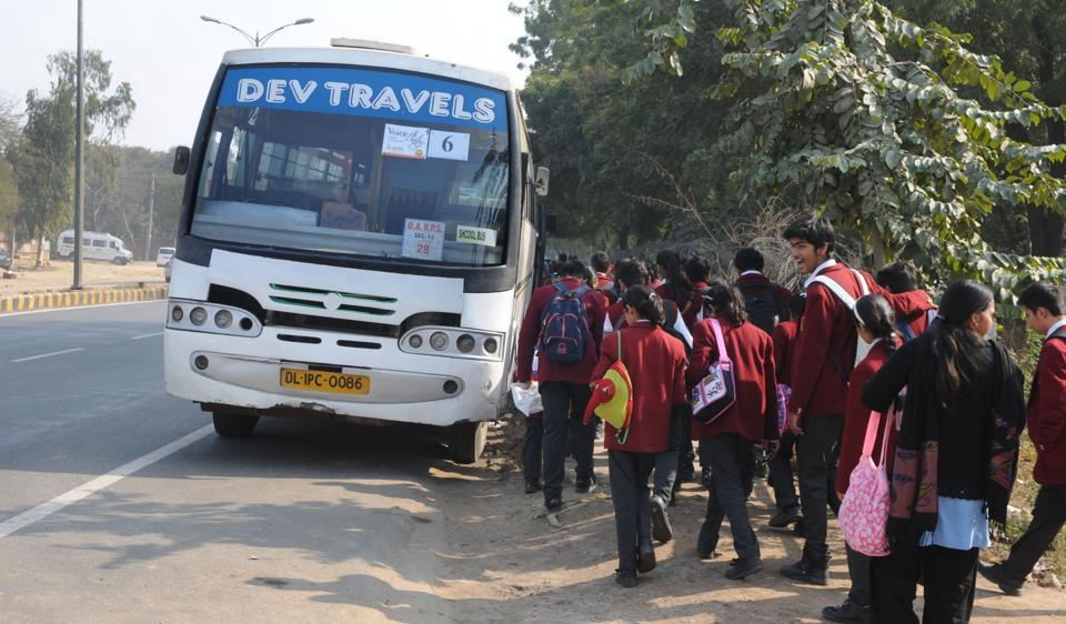 Many schools in Gurgaon hire private buses from contractors.