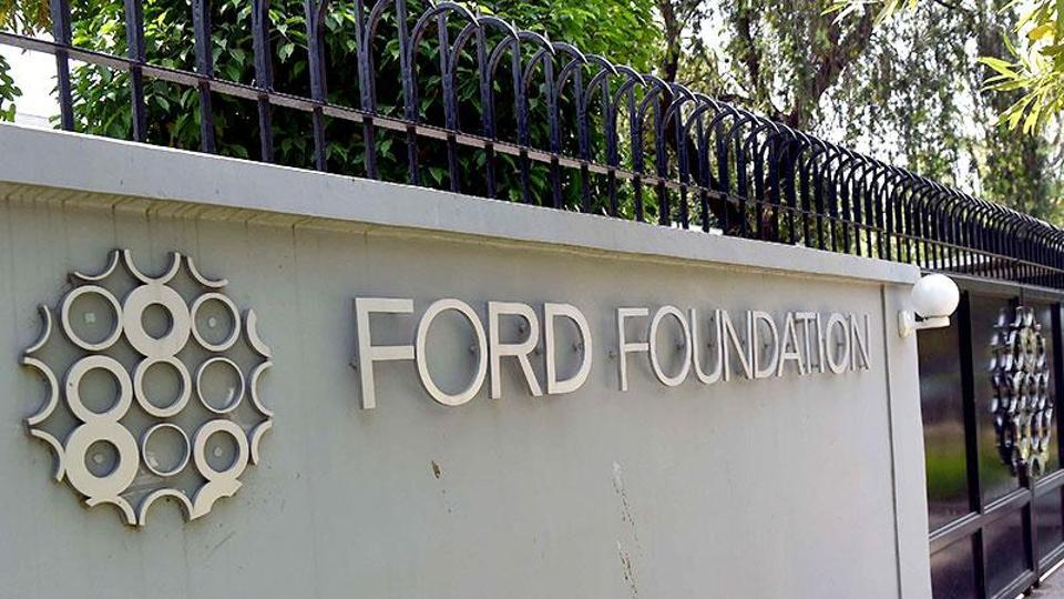The Ford Foundation logo is pictured outside its office in New Delhi.