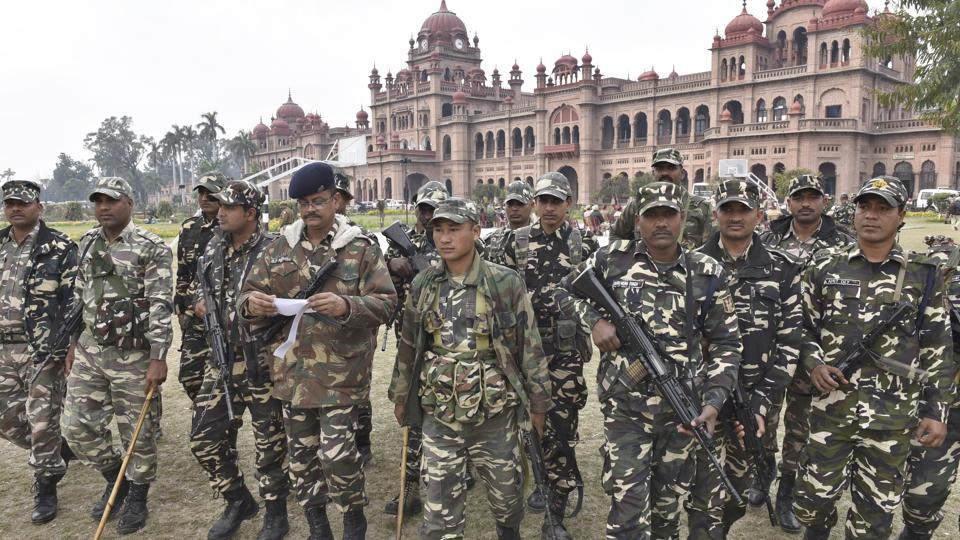 Paramilitary personnel being assigned duties at the Khalsa College grounds in Amritsar on Friday, February 3.