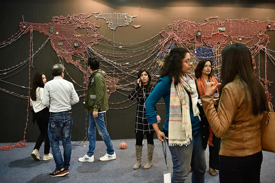 Woven Chronicles by Reena Saini Kallat at the India Art Fair. The four-day event opened at the NSIC Grounds in New Delhi on Thursday.
