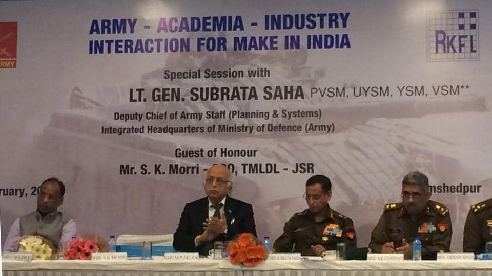 """Dignitaries attending the programme on """"Army -Academia – Industry Interaction for Make in India """" in Jamshedpur  on Thursday,"""