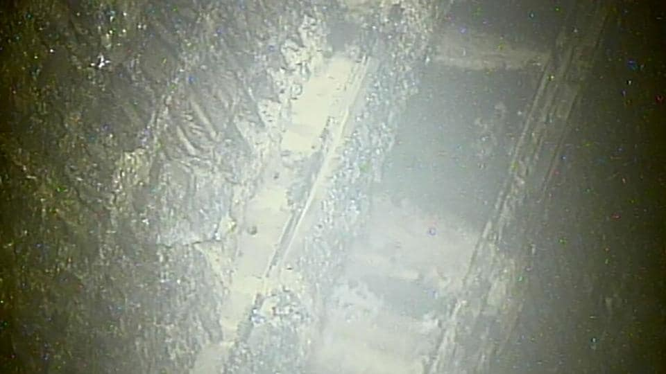 This handout video grab from Tokyo Electric Power Co shows the inside of the No 2 reactor, just below the pressure vessel, at TEPCO's Fukushima Dai-ichi nuclear power plant in Okuma town, Fukushima prefecture.