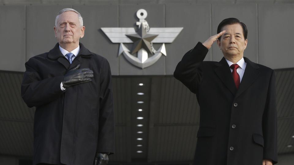 U.S. Defense Secretary Jim Mattis, left, and South Korean Defense Minister Han Min Koo salute during a welcome ceremony for Mattis at Defense Ministry in Seoul, South Korea.