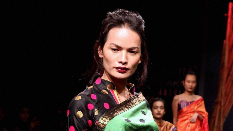 Nepal's first transgender model Anjali Lama walks the ramp during the Lakmé Fashion Week Summer Resort 2017 in Mumbai on Wednesday.