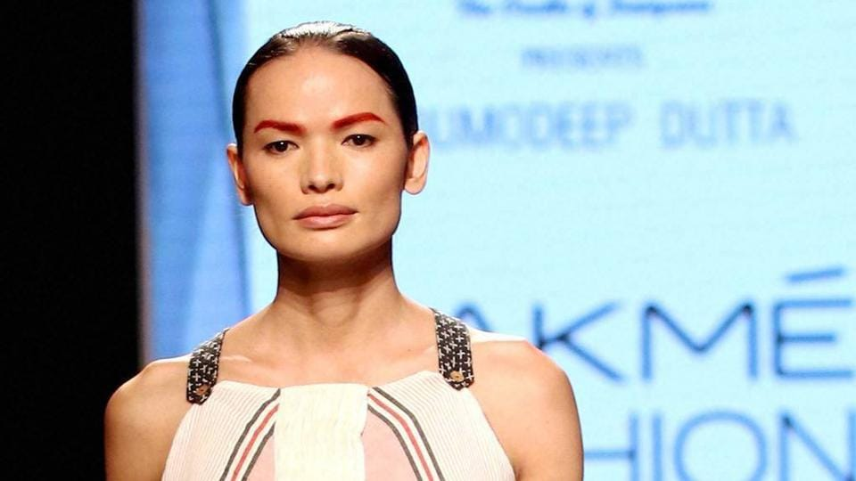 Nepal's first transgender model Anjali Lama showcases a creation by designer Gen Next at Lakme Fashion Week Summer Resort 2017 in Mumbai on Wednesday. (PTI)