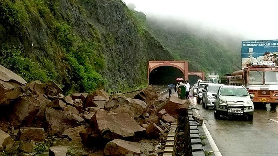 Many vehicles were stranded along the nearly 300-km long highway and would only be allowed to proceed further once the debris is cleared.
