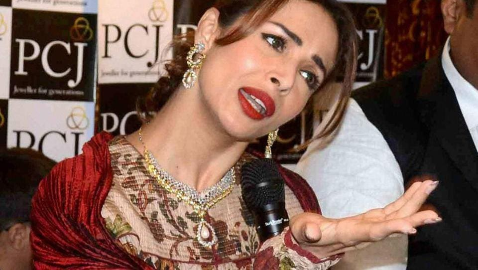 Malaika Arora interacting with the media at a promotional event in Allahabad. (PTI)
