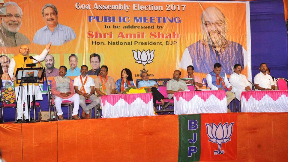 BJP President Amit Shah addressing a BJP election meeting in Vasco town, Goa. The BJP is hopeful of returning to power in the state despite crucial issues working against it this time.