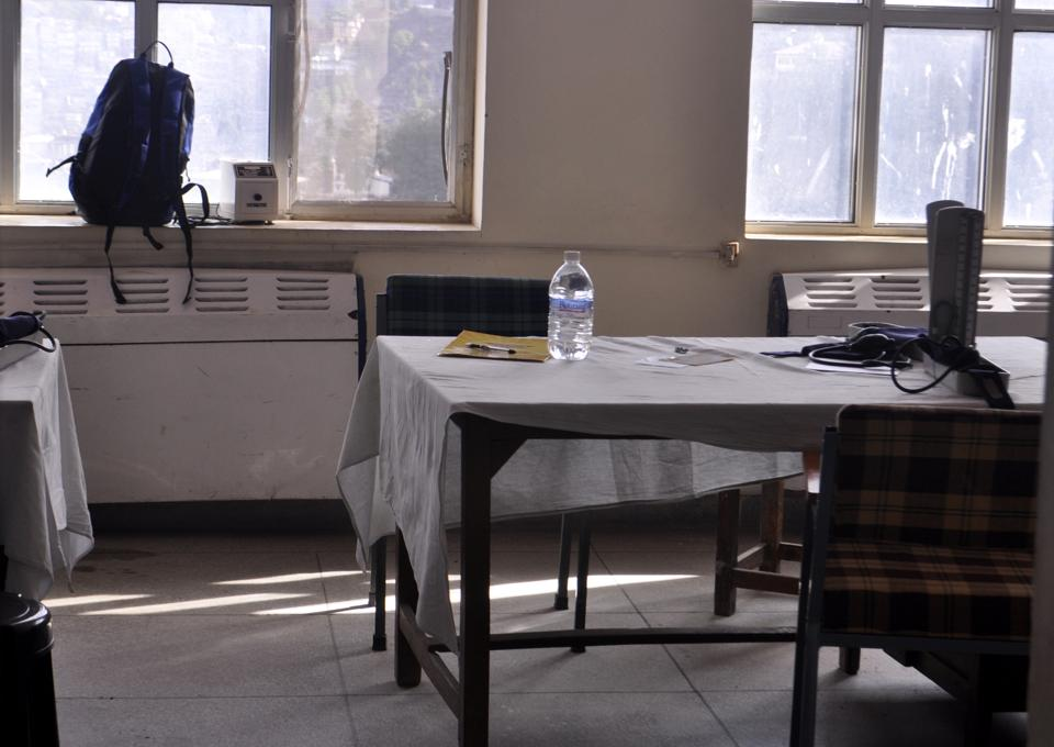 An empty OPD chamber during doctors' strike.