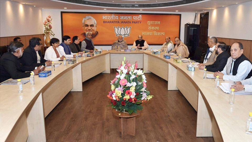 Prime Minister Narendra Modi, BJP president Amit Shah during the BJP central election committee meeting for Manipur, at BJP headquarters in New Delhi.
