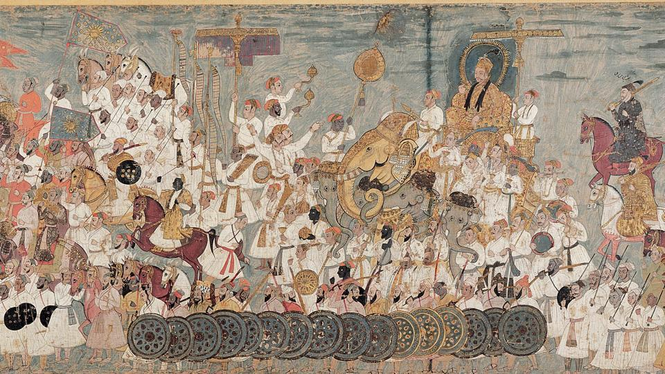 Deccani painting of the Procession of Abdullah Qutb Shah.