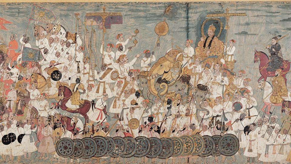 Deccani painting of the Procession of Abdullah Qutb Shah.