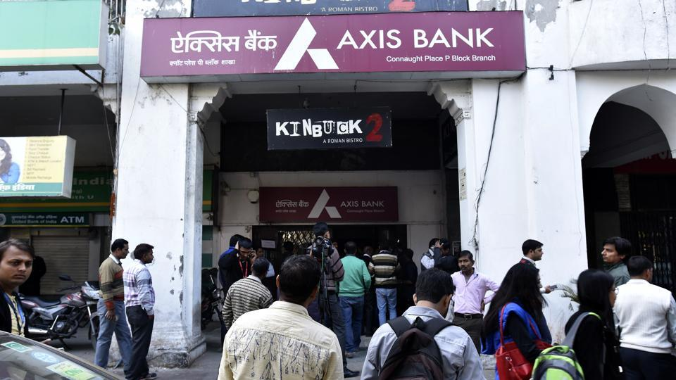 Income Tax department raided AXIS Bank of Connaught Place outer circle in New Delhi on December 15, 2016.
