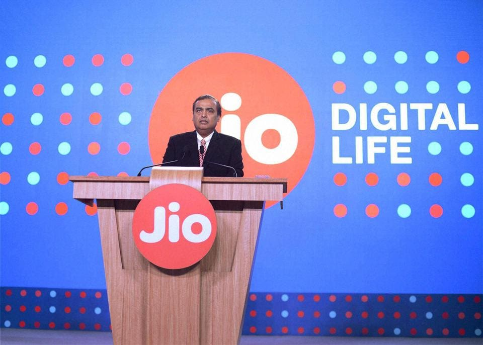 Mumbai: Reliance Industries Limited Chairman Mukesh Ambani speaks during a press briefing of Reliance Jio