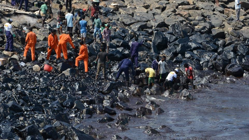 Over 500 workers, from the Tamil Nadu Pollution Control Board, Kamarajar Port, and local fishermen, have been working alongside the Coast Guard in an effort to control the increasingly large oil spill.