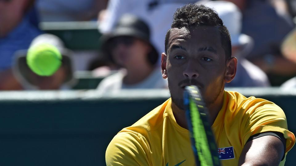 Australia tennis team's Nick Kyrgios lines up a return against Jan Satral of the Czech Republic during their Davis Cup World Group first round tennis match at Kooyong in Melbourne on Friday.