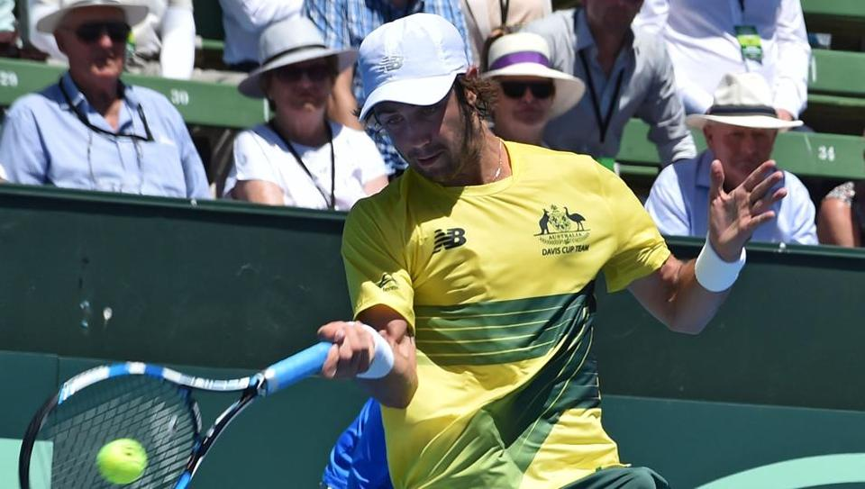 Jordan Thompson of Australia during his match against Jiri Vesely of the Czech Republic in the Davis Cup World Group first round tie at Kooyong in Melbourne on Friday.