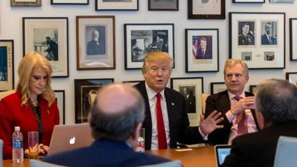 Kellyanne Conway, 9extreme left) ,and President-elect Donald Trump and others during a meeting with editors and reporters at The New York Times building, Tuesday, Nov. 22, 2016 in New York.