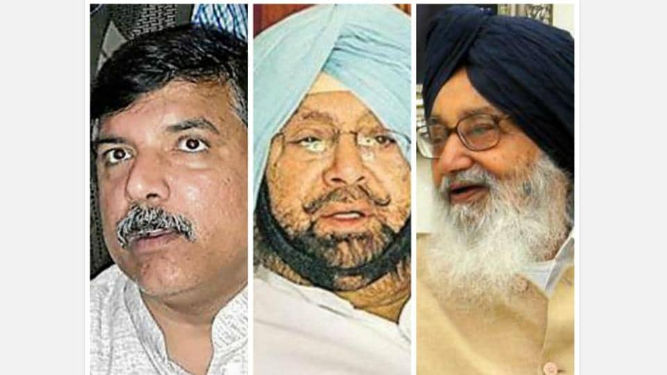 AAP Punjab affairs in-charge Sanjay Singh, PPCC chief Capt Amarinder Singh and Punjab CM Parkash Singh Badal.