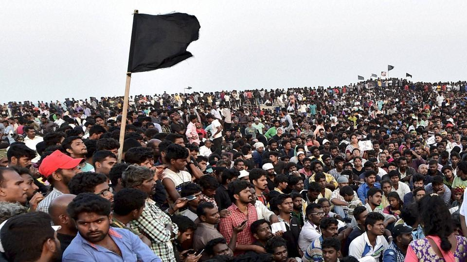 Protesters during a demonstration against the ban on the Jallikattu at Marina Beach in Chennai.