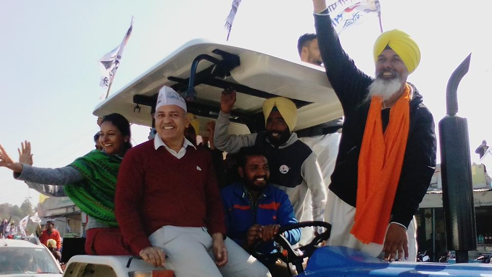 Delhi deputy chief minister Manish Sisodia during a road show in Faridkot.