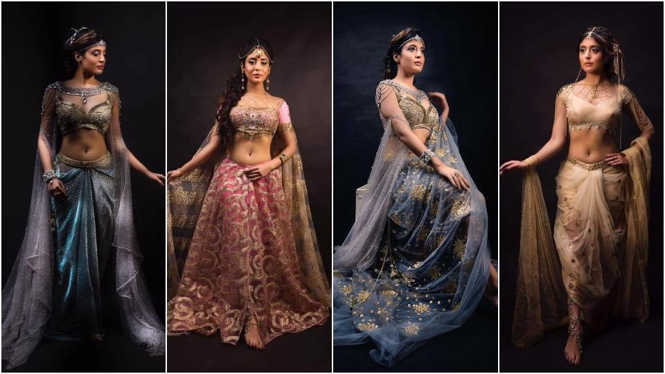 Chandrakanta - Prem aur Paheli actress Kritika Kamra shared four catalogue-worthy looks from her upcoming show on Facebook.  From sari-inspired gowns and demure net lehengas in shades of mauve, baby pink, golden and powder blue to statement headgear, she looks every bit a royal princess.