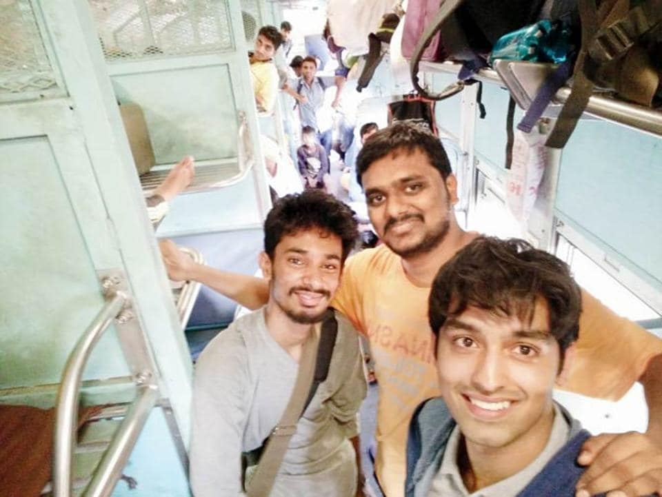 Filmmakers Samarth Mahajan, Rajat Bhargava and Omkar Divekar, the team that travelled unreserved.