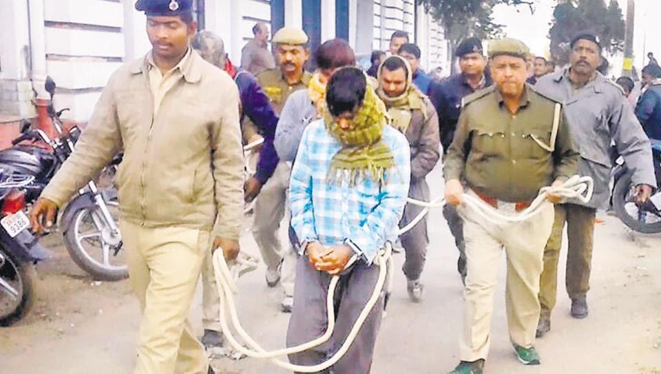 Motihari terror case accused being taken to court in Patna.